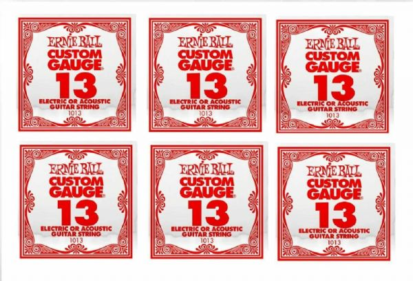 6 Pack Ernie Ball Custom Gauge 13's Guitar Single Strings Electric/Acous  - 1013